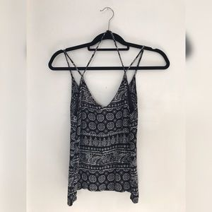 Black tank top with white print